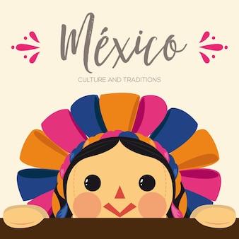 Composición de muñeca maría tradicional mexicana