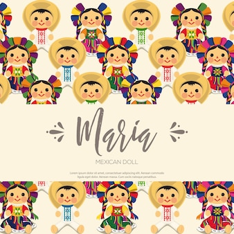 Composición de muñecas maria tradicional mexicana