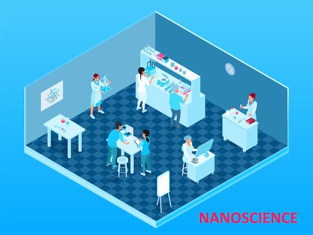 Composición de nanotecnología isométrica coloreada con sala de laboratorio aislada con científicos y equipos
