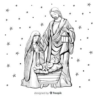 Composición de navidad dibujada a mano
