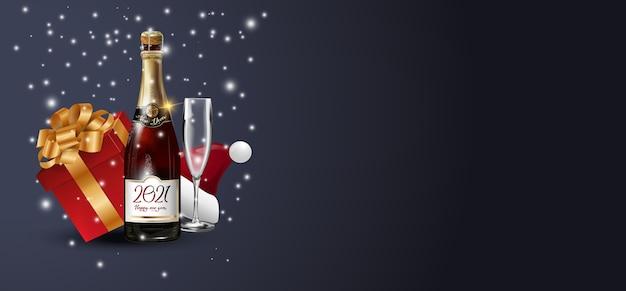 Composición de navidad sobre fondo oscuro.