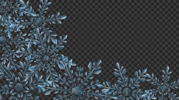 Composición navideña de grandes copos de nieve transparentes complejos en colores azul claro para usar sobre fondo oscuro. transparencia solo en formato vectorial