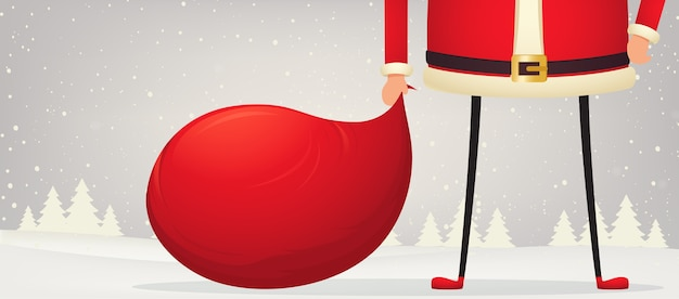 Composición navideña de pies y manos de santa claus de pie en la nieve con una bolsa de regalos. fondo festivo de año nuevo.