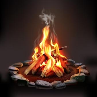 Composición nocturna con ilustración de fogata ardiente