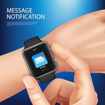 Composición de notificación de mensaje nuevo reloj inteligente realista con la mano del hombre con una ilustración de vector de reloj