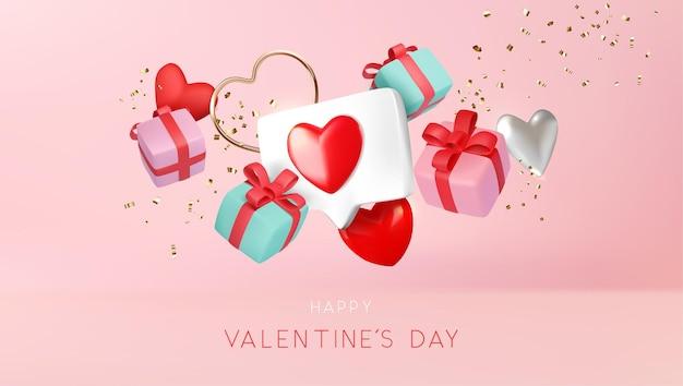 Composición de objetos de amor flotante horizontal del día de san valentín en la ilustración de fondo rosa