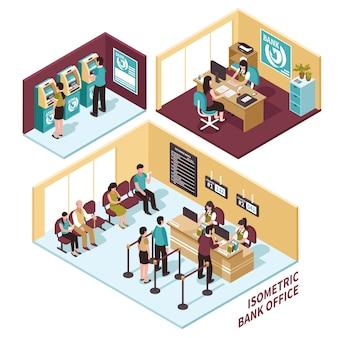 Composición de la oficina del banco isométrica