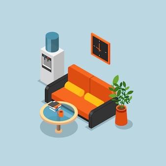 Composición de oficina isométrica coloreada con paredes de color azul claro sofá naranja y una ilustración vectorial más fresca