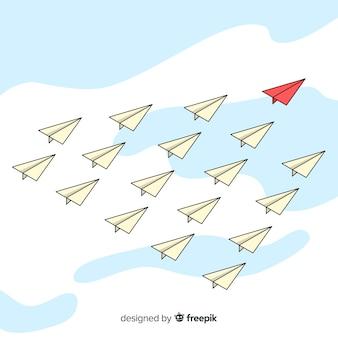 Composición original de liderazgo con aviones de papel