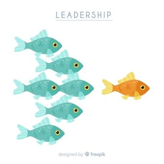 Composición original de liderazgo dibujada a mano