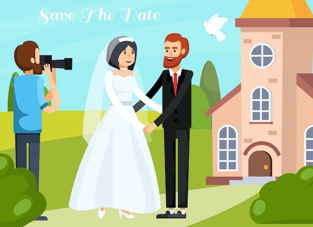 Composición ortogonal de personas de la boda