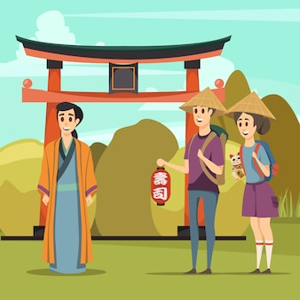 Composición ortogonal de viaje de puntos de referencia de japón