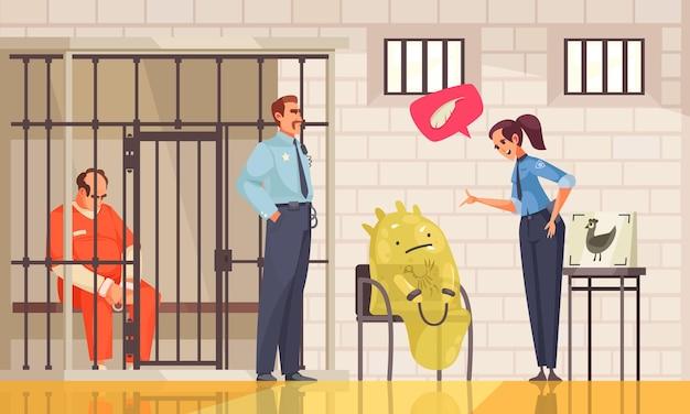 Composición de ovni alienígena con personaje de dibujos animados de alienígena en el departamento de policía con oficiales prisioneros en jaula