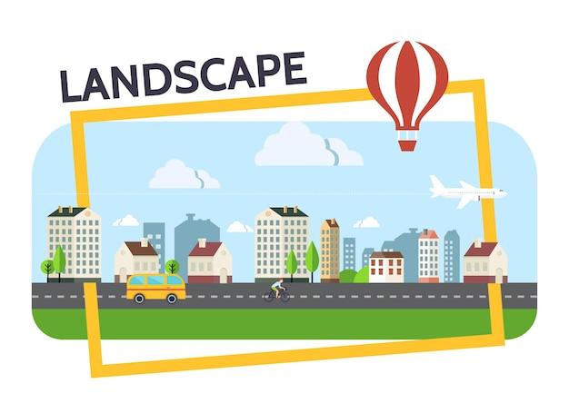 Composición del paisaje de la ciudad plana con edificios, nubes, autobús, avión, transporte en globo aerostático en la ilustración del marco