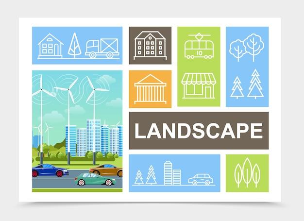 Composición del paisaje de la ciudad plana