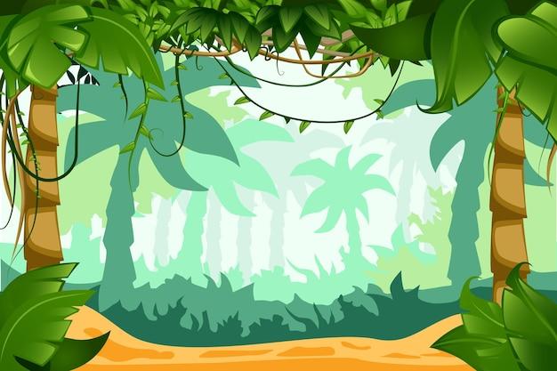 Composición del paisaje de dibujos animados de la selva tropical con lianas trepadoras, follaje suculento y fondo de palmeras que se desvanecen