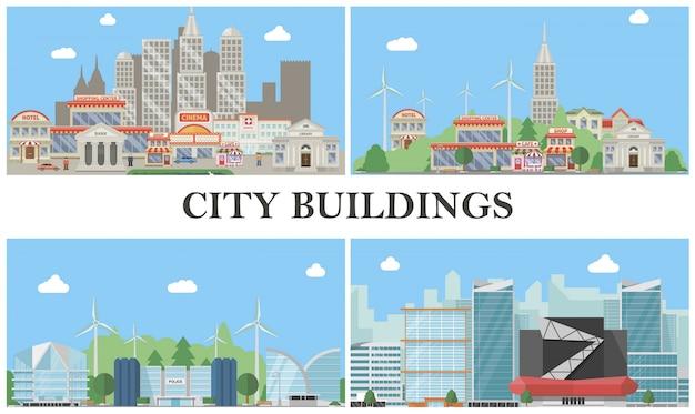 Composición de paisajes planos de la ciudad con cine, centro comercial del hotel, hospital, cafetería, estación de policía, edificios bancarios, molinos de viento, paisaje urbano moderno