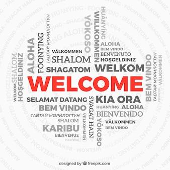 Composición con palabra bienvenido en distintos idiomas