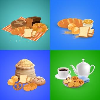 Composición de pan con elementos de desayuno y almuerzo.