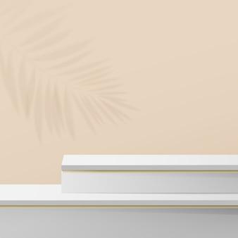 Composición de pantalla de podio de mármol blanco y dorado.