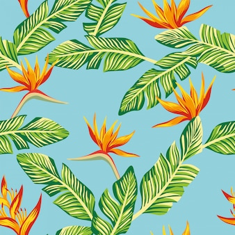 Composición de papel tapiz de patrones sin fisuras de hojas de plátano tropical verde y flores