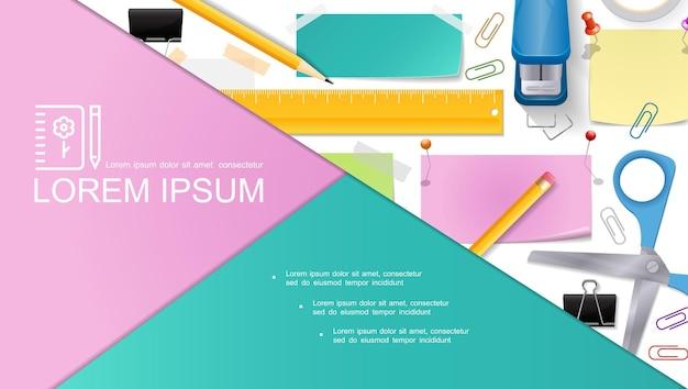 Composición de papelería realista con tijeras, lápices, grapadora, chinchetas, notas, pegatinas, regla, carpeta, clips, cinta adhesiva, ilustración,