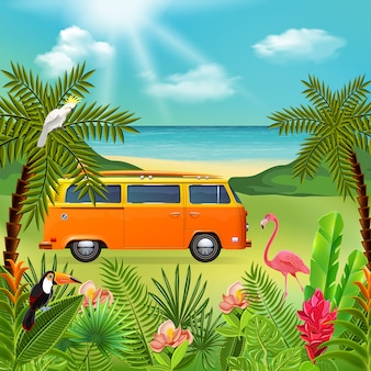 Composición del paraíso tropical con paisaje de naturaleza marina y plantas coloridas con mini van hippie y flores
