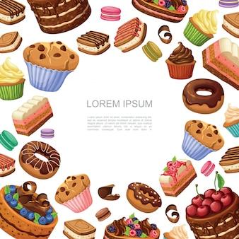 Composición de pasteles y postres de dibujos animados con macarrones donas magdalenas magdalenas y trozos de tarta