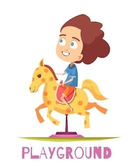 Composición del patio de juegos del caballo mecedora