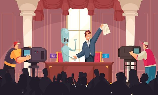 Composición de paz de ovni alienígena con escenario de conferencia de prensa interior y gente feliz con papeles y humanoides