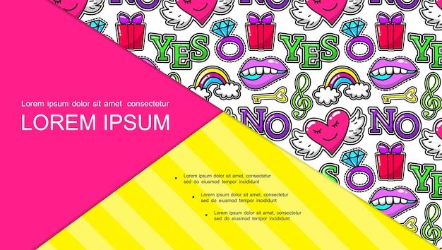 Composición de pegatinas y parches de arte pop con caja de regalo, anillo, boca, corazón, clave de sol, clave de sol, arco iris, sí y no, diapositiva de palabras,