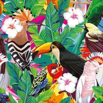 Una composición perfecta de tucán de aves tropicales, loros, abubillas y hojas de palmeras.