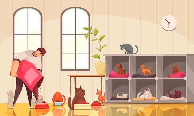 Composición de perros cuidadores de mascotas con paisaje interior y carácter humano masculino que alimenta a muchos perros y gatos