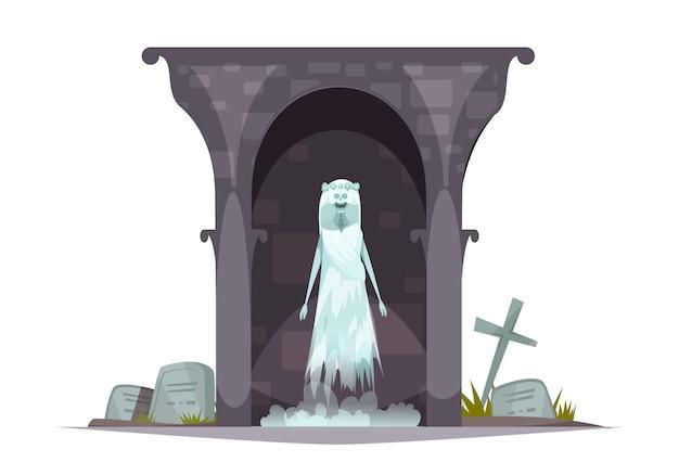 Composición del personaje de dibujos animados del espectro del cementerio malvado con apariencia de fantasma aterrador en la tumba del cementerio embrujada