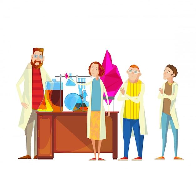 Composición de los personajes de caricatura del profesor y del alumnado en el laboratorio químico que realiza la investigación.