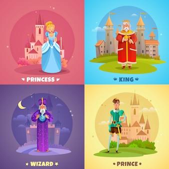 Composición de personajes de cuento de hadas