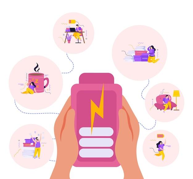 Composición de personas de baja energía con manos humanas sosteniendo un teléfono inteligente cargado y personajes que se sienten cansados