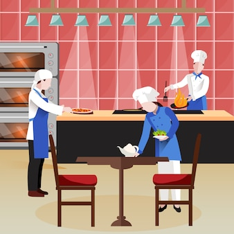 Composición de personas cocina plana