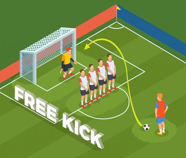 Composición de personas isométricas de fútbol soccer con cancha de tierra y personajes de jugador muro defensivo y portero
