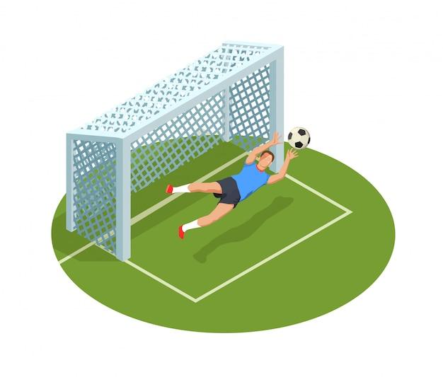 Composición de personas isométricas de fútbol soccer con imágenes de cancha de portería y carácter humano del portero