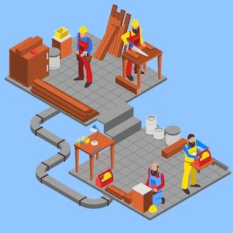 Composición de personas en madera