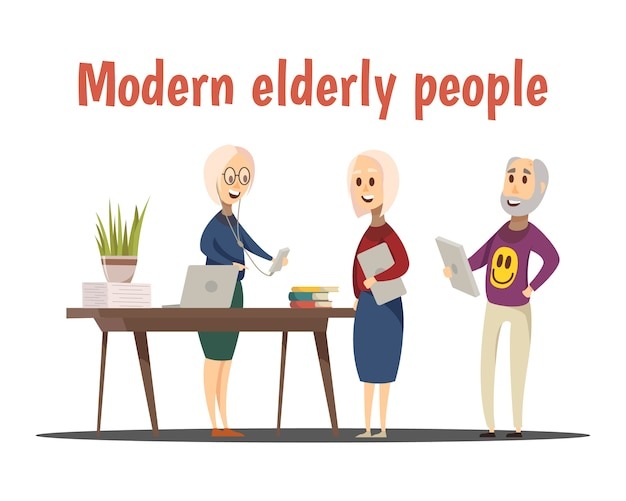 Composición de personas mayores modernas