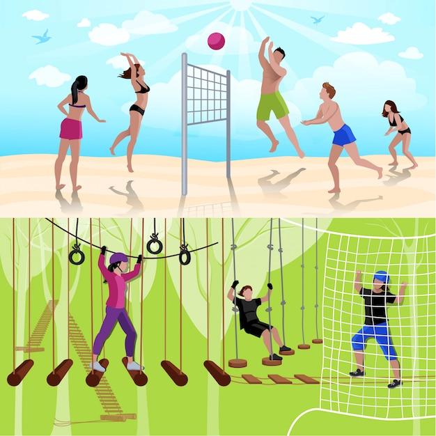 Composición de personas de ocio activo con voleibol y escalada en estilo plano.