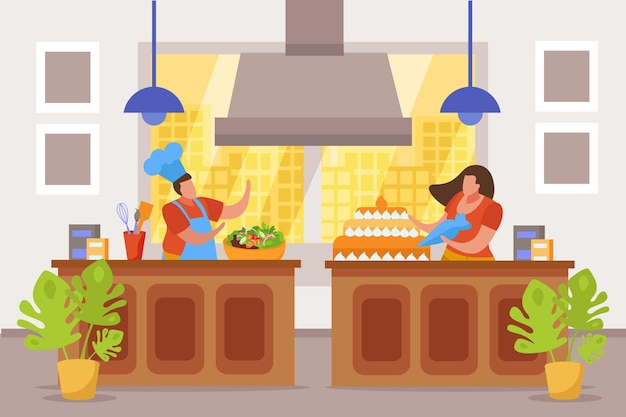 Composición de personas planas de hobby con vista interior de la cocina con personajes sin rostro haciendo ensalada y pastel