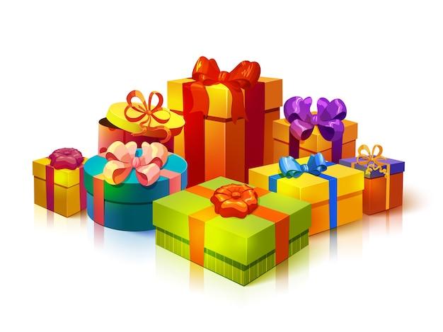 Composición de pila de cajas de regalo