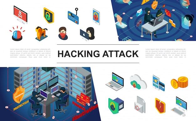 Composición de piratería isométrica con hackers escudos de sirena protección de servidores de computadora autorización biométrica robo de dinero de la tarjeta de pago