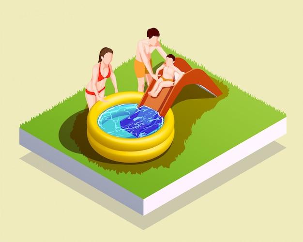 Composición de la piscina inflable de la familia