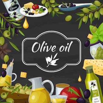 Composición de pizarra de dibujos animados de aceite de oliva