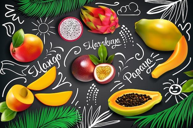 Composición de pizarra de frutas tropicales