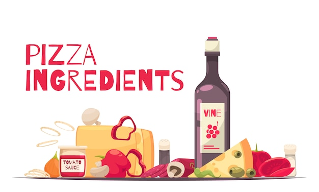 Composición de pizza coloreada y plana con titular de ingredientes de pizza y botella de vino ilustración vectorial